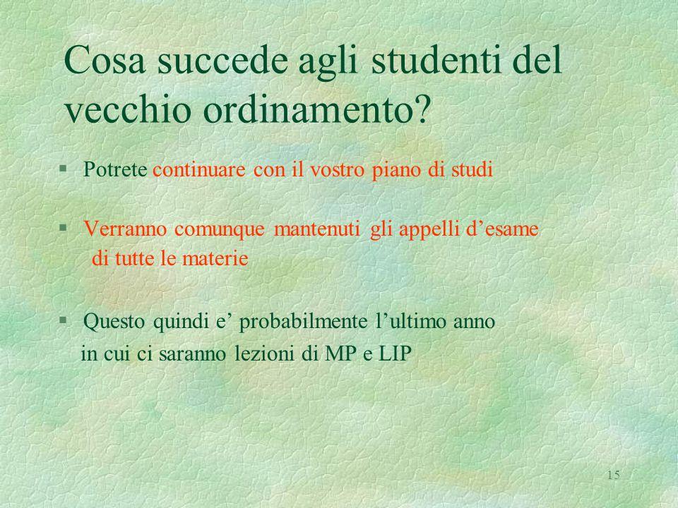 15 Cosa succede agli studenti del vecchio ordinamento.
