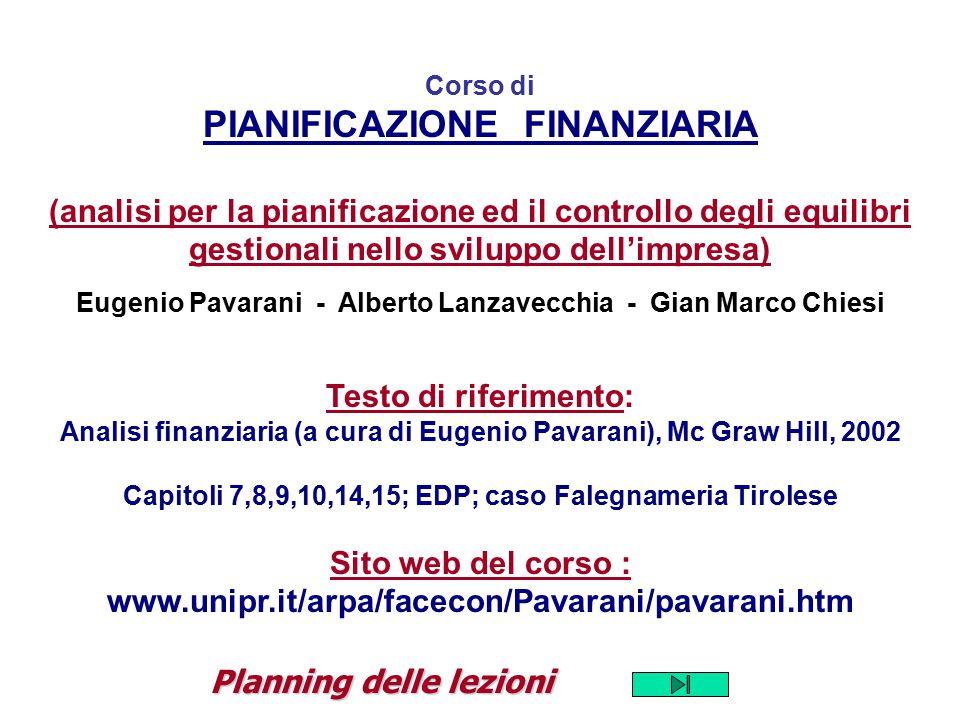 Corso di PIANIFICAZIONE FINANZIARIA (analisi per la pianificazione ed il controllo degli equilibri gestionali nello sviluppo dell'impresa) Eugenio Pav