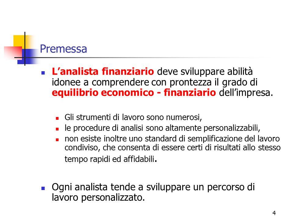 4 Premessa L'analista finanziario deve sviluppare abilità idonee a comprendere con prontezza il grado di equilibrio economico - finanziario dell'impre