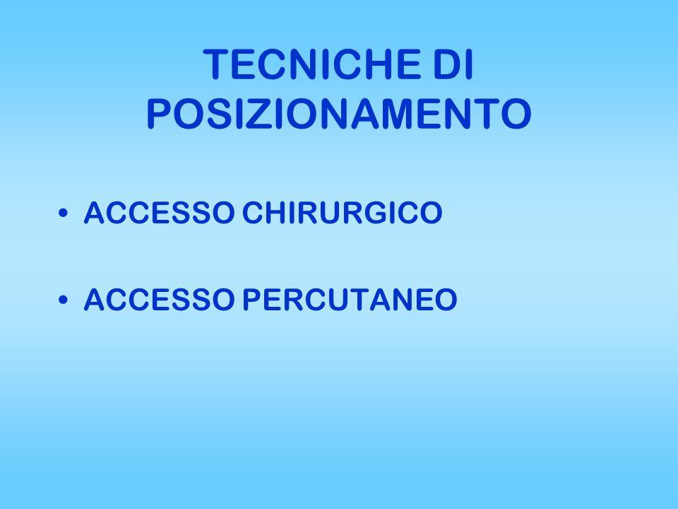 TECNICHE DI POSIZIONAMENTO ACCESSO CHIRURGICO ACCESSO PERCUTANEO