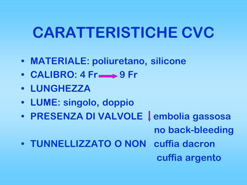CARATTERISTICHE CVC MATERIALE: poliuretano, silicone CALIBRO: 4 Fr 9 Fr LUNGHEZZA LUME: singolo, doppio PRESENZA DI VALVOLE embolia gassosa no back-bleeding TUNNELLIZZATO O NON cuffia dacron cuffia argento