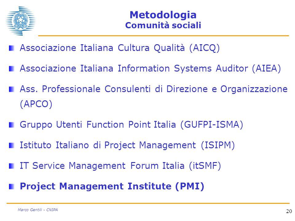20 Marco Gentili - CNIPA Metodologia Comunità sociali Associazione Italiana Cultura Qualità (AICQ) Associazione Italiana Information Systems Auditor (AIEA) Ass.