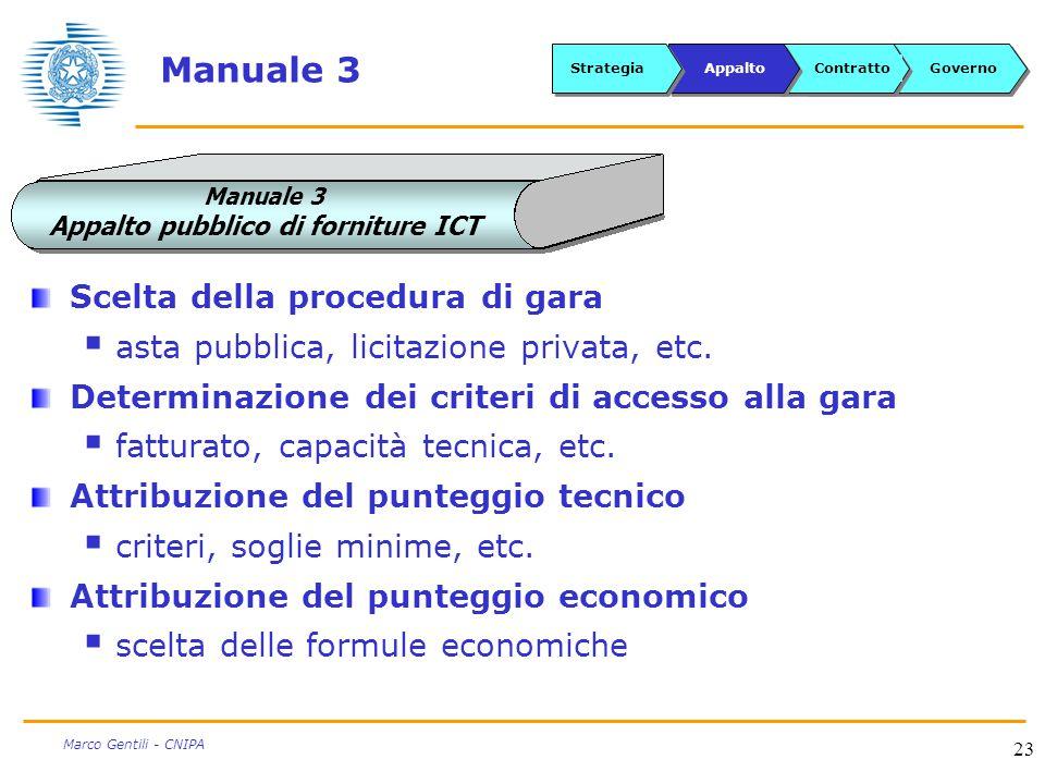 23 Marco Gentili - CNIPA Manuale 3 Scelta della procedura di gara  asta pubblica, licitazione privata, etc.