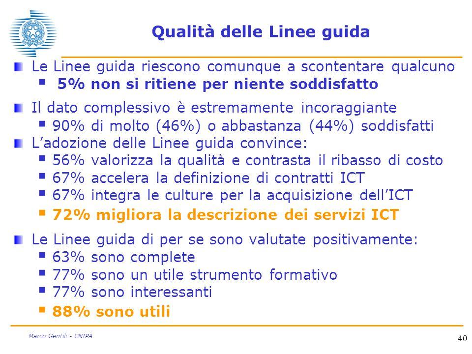 40 Marco Gentili - CNIPA Qualità delle Linee guida Le Linee guida riescono comunque a scontentare qualcuno  5% non si ritiene per niente soddisfatto Il dato complessivo è estremamente incoraggiante  90% di molto (46%) o abbastanza (44%) soddisfatti L'adozione delle Linee guida convince:  56% valorizza la qualità e contrasta il ribasso di costo  67% accelera la definizione di contratti ICT  67% integra le culture per la acquisizione dell'ICT  72% migliora la descrizione dei servizi ICT Le Linee guida di per se sono valutate positivamente:  63% sono complete  77% sono un utile strumento formativo  77% sono interessanti  88% sono utili
