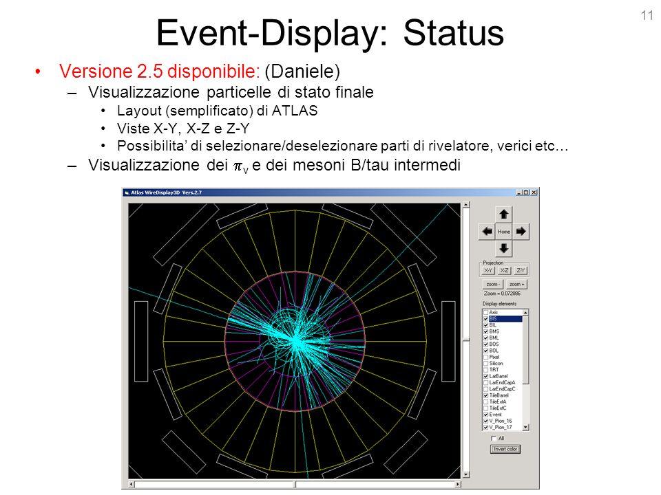 11 Event-Display: Status Versione 2.5 disponibile: (Daniele) –Visualizzazione particelle di stato finale Layout (semplificato) di ATLAS Viste X-Y, X-Z e Z-Y Possibilita' di selezionare/deselezionare parti di rivelatore, verici etc… –Visualizzazione dei  v e dei mesoni B/tau intermedi