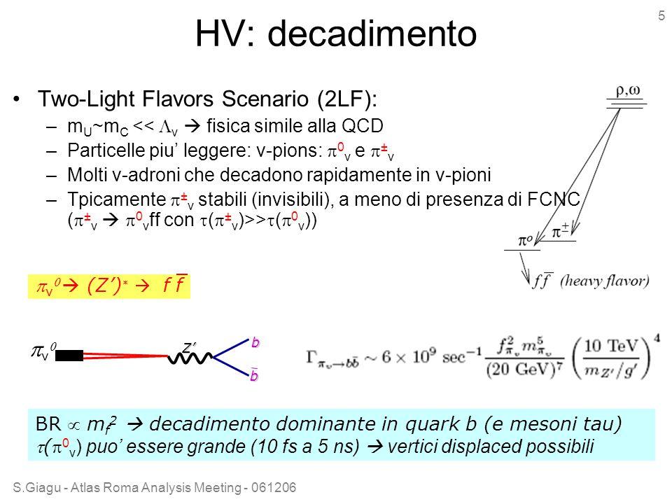 S.Giagu - Atlas Roma Analysis Meeting - 061206 5 HV: decadimento Two-Light Flavors Scenario (2LF): –m U ~m C <<  v  fisica simile alla QCD –Particelle piu' leggere: v-pions:  0 v e  ± v –Molti v-adroni che decadono rapidamente in v-pioni –Tpicamente  ± v stabili (invisibili), a meno di presenza di FCNC (  ± v   0 v ff con  (  ± v )>>  (  0 v ))  v   (Z') *  f fb vvZ' b BR  m f 2  decadimento dominante in quark b (e mesoni tau) ( 0 v ) puo' essere grande (10 fs a 5 ns)  vertici displaced possibili