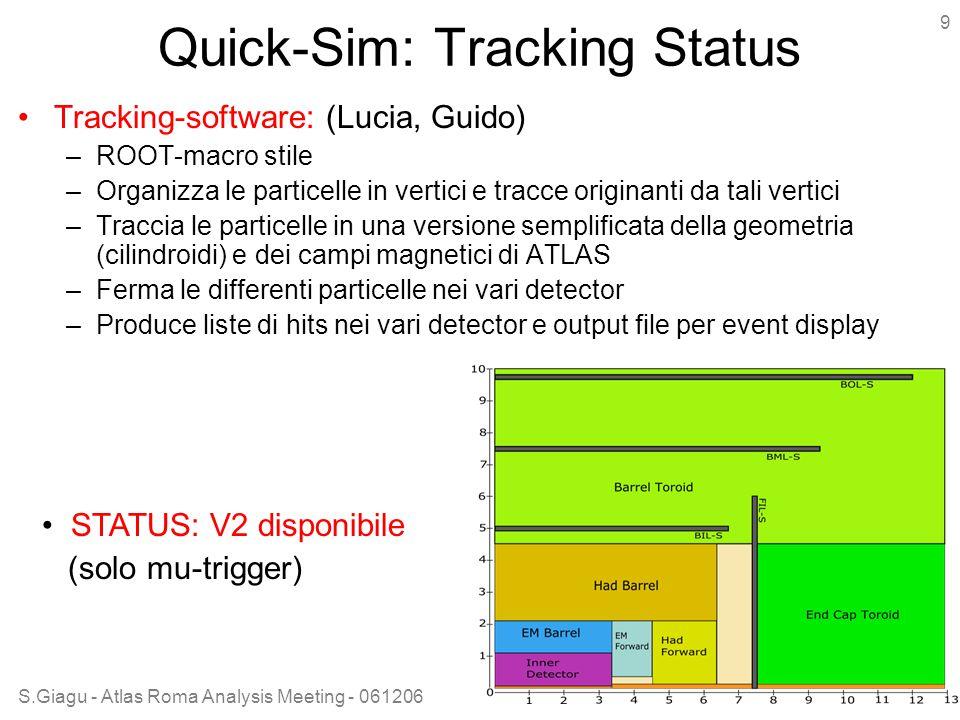 S.Giagu - Atlas Roma Analysis Meeting - 061206 9 Quick-Sim: Tracking Status Tracking-software: (Lucia, Guido) –ROOT-macro stile –Organizza le particelle in vertici e tracce originanti da tali vertici –Traccia le particelle in una versione semplificata della geometria (cilindroidi) e dei campi magnetici di ATLAS –Ferma le differenti particelle nei vari detector –Produce liste di hits nei vari detector e output file per event display STATUS: V2 disponibile (solo mu-trigger)