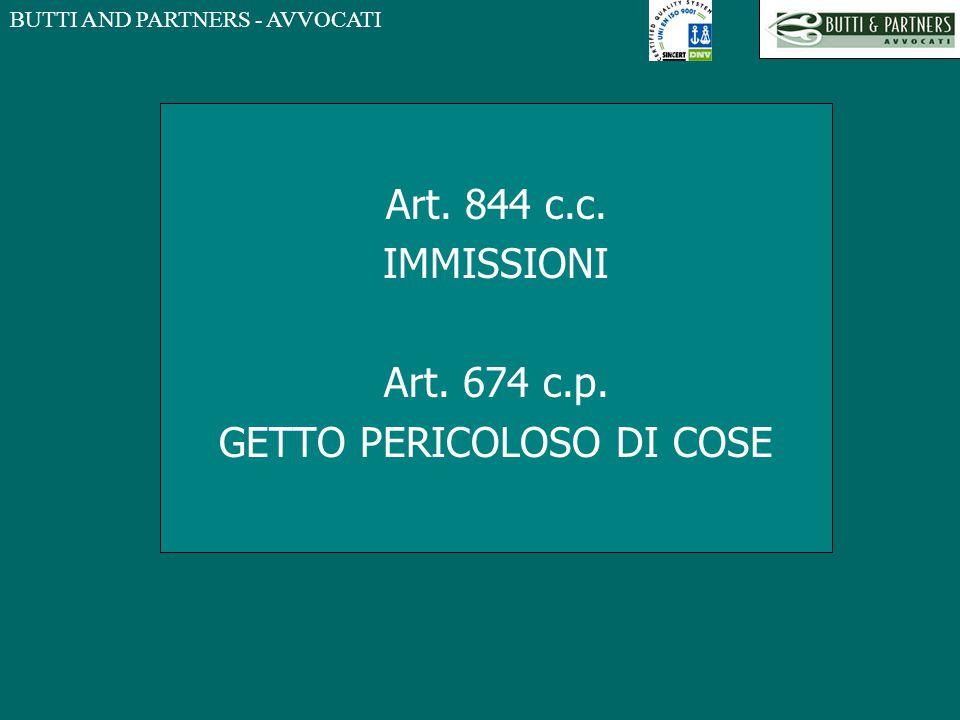 BUTTI AND PARTNERS - AVVOCATI Art. 844 c.c. IMMISSIONI Art. 674 c.p. GETTO PERICOLOSO DI COSE