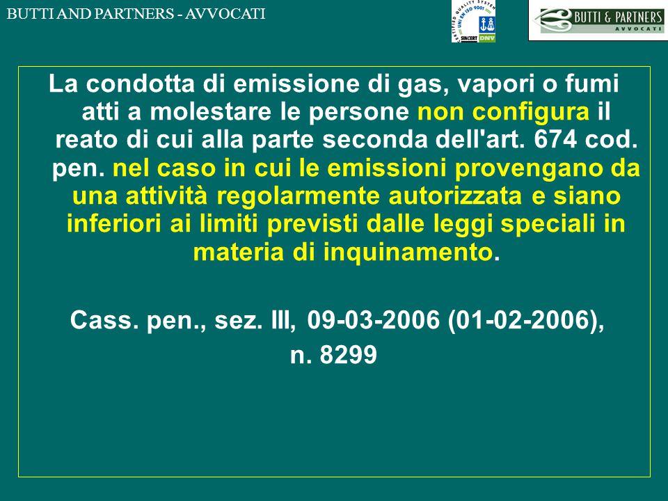 BUTTI AND PARTNERS - AVVOCATI La condotta di emissione di gas, vapori o fumi atti a molestare le persone non configura il reato di cui alla parte seco