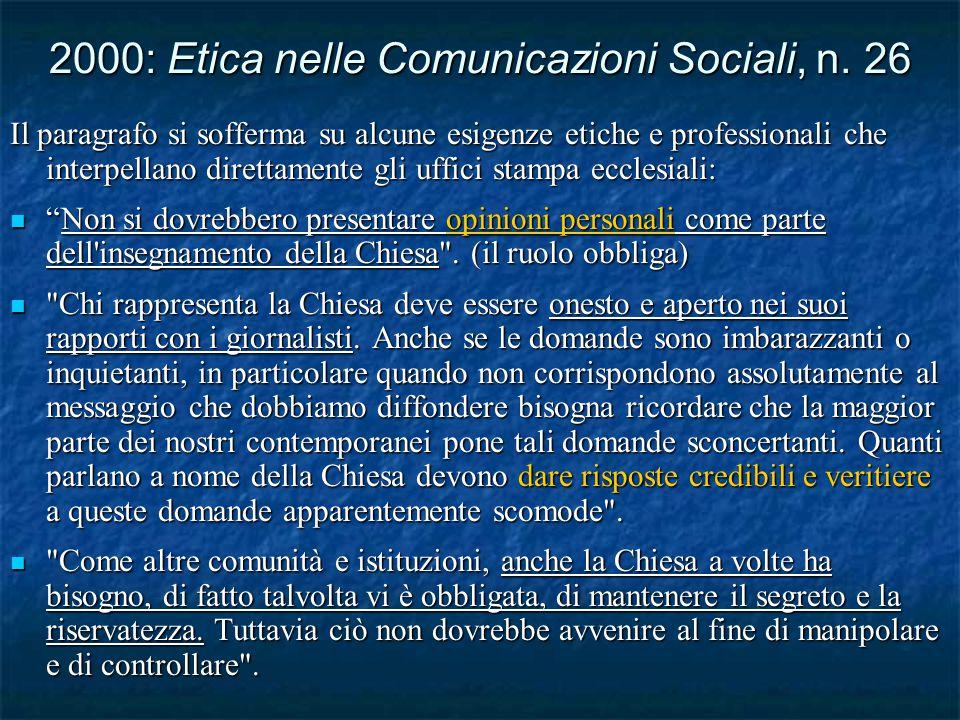 2000: Etica nelle Comunicazioni Sociali, n.