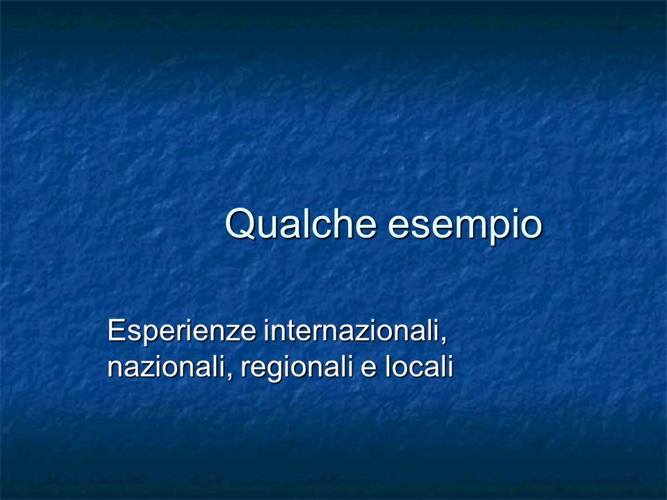 Qualche esempio Esperienze internazionali, nazionali, regionali e locali