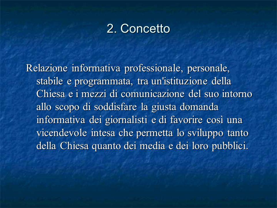 2. Concetto Relazione informativa professionale, personale, stabile e programmata, tra un'istituzione della Chiesa e i mezzi di comunicazione del suo