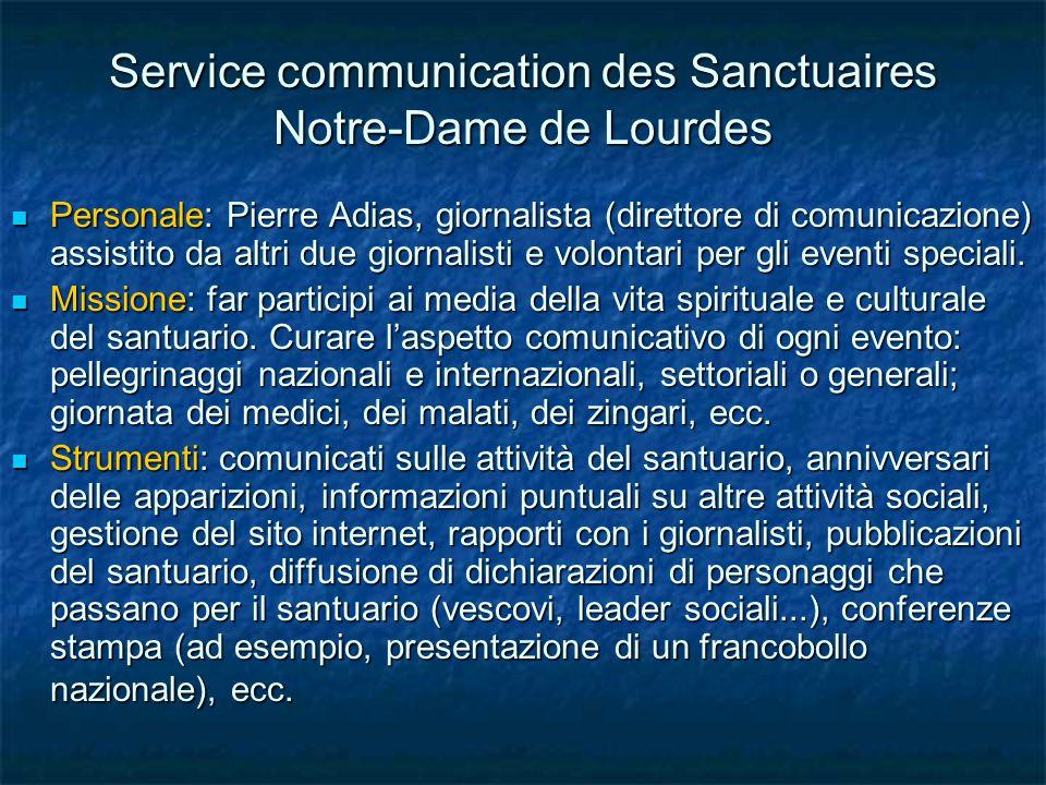 Service communication des Sanctuaires Notre-Dame de Lourdes Personale: Pierre Adias, giornalista (direttore di comunicazione) assistito da altri due giornalisti e volontari per gli eventi speciali.