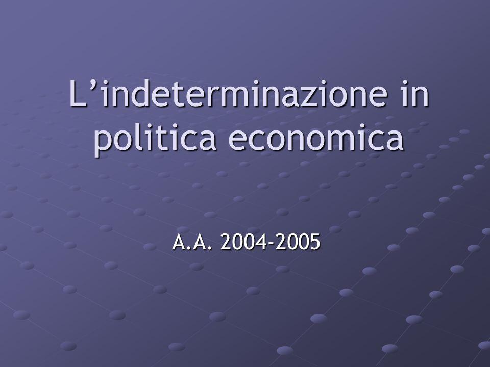 L'indeterminazione in politica economica A.A. 2004-2005
