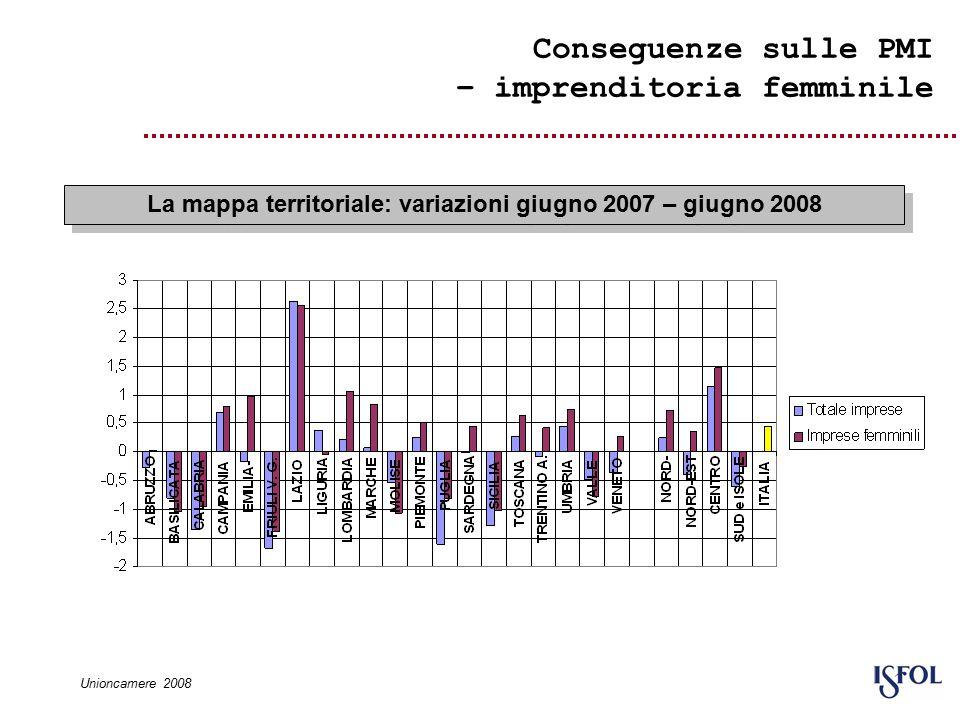 Conseguenze sulle PMI – imprenditoria femminile La mappa territoriale: variazioni giugno 2007 – giugno 2008 Unioncamere 2008