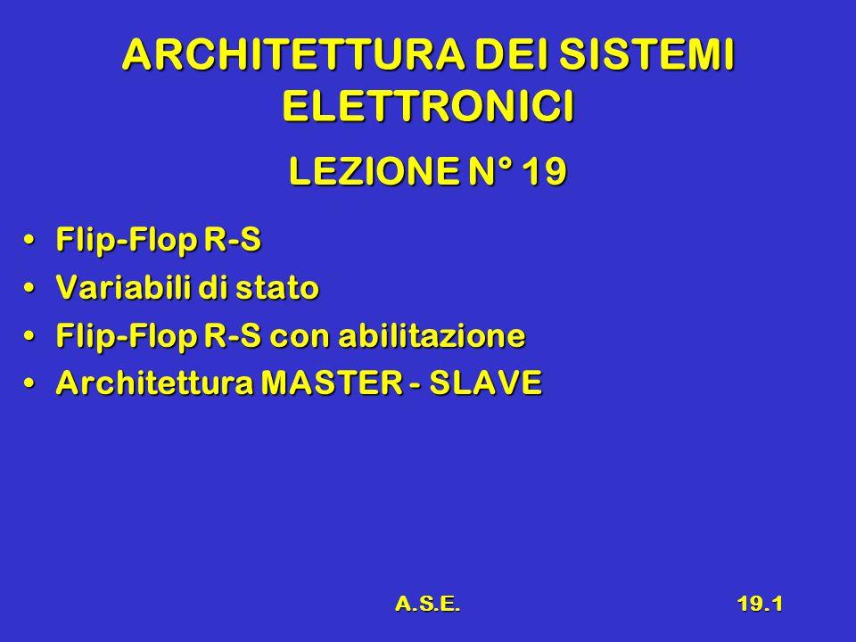 A.S.E.19.1 ARCHITETTURA DEI SISTEMI ELETTRONICI LEZIONE N° 19 Flip-Flop R-SFlip-Flop R-S Variabili di statoVariabili di stato Flip-Flop R-S con abilitazioneFlip-Flop R-S con abilitazione Architettura MASTER - SLAVEArchitettura MASTER - SLAVE