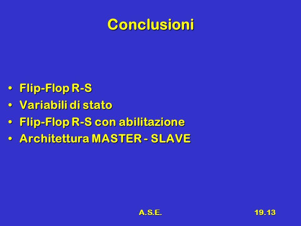 A.S.E.19.13 Conclusioni Flip-Flop R-SFlip-Flop R-S Variabili di statoVariabili di stato Flip-Flop R-S con abilitazioneFlip-Flop R-S con abilitazione Architettura MASTER - SLAVEArchitettura MASTER - SLAVE