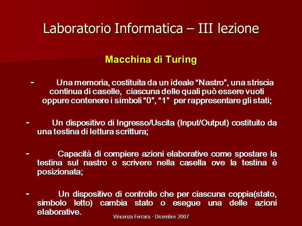 """Vincenza Ferrara - Dicembre 2007 Laboratorio Informatica – III lezione Macchina di Turing - Una memoria, costituita da un ideale """"Nastro"""", una strisci"""