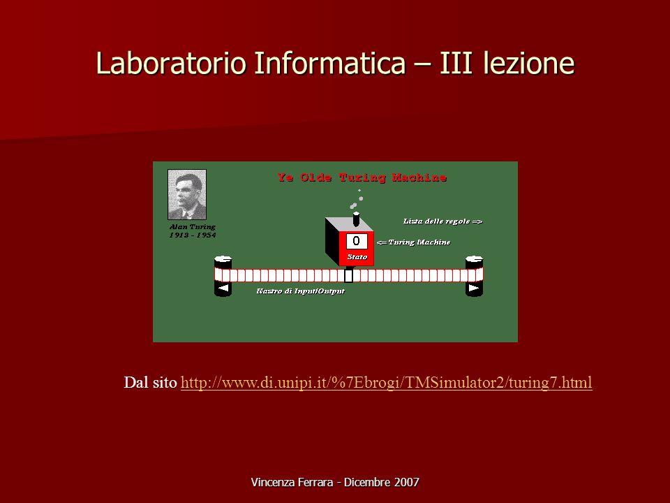Vincenza Ferrara - Dicembre 2007 Laboratorio Informatica – III lezione Dal sito http://www.di.unipi.it/%7Ebrogi/TMSimulator2/turing7.htmlhttp://www.di.unipi.it/%7Ebrogi/TMSimulator2/turing7.html