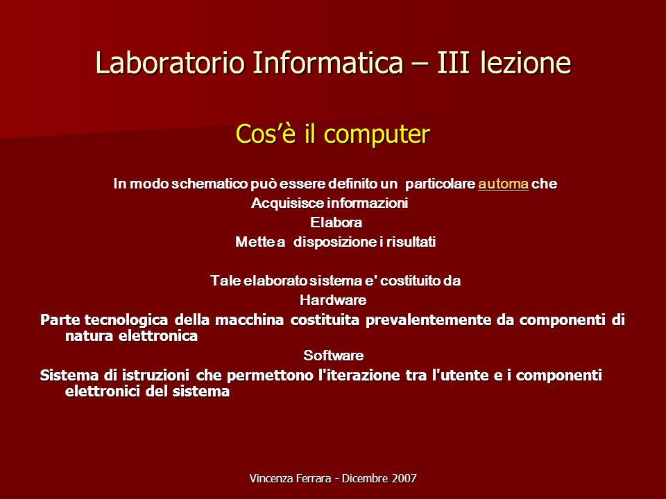 Vincenza Ferrara - Dicembre 2007 Laboratorio Informatica – III lezione Cos'è il computer In modo schematico può essere definito un particolare automa