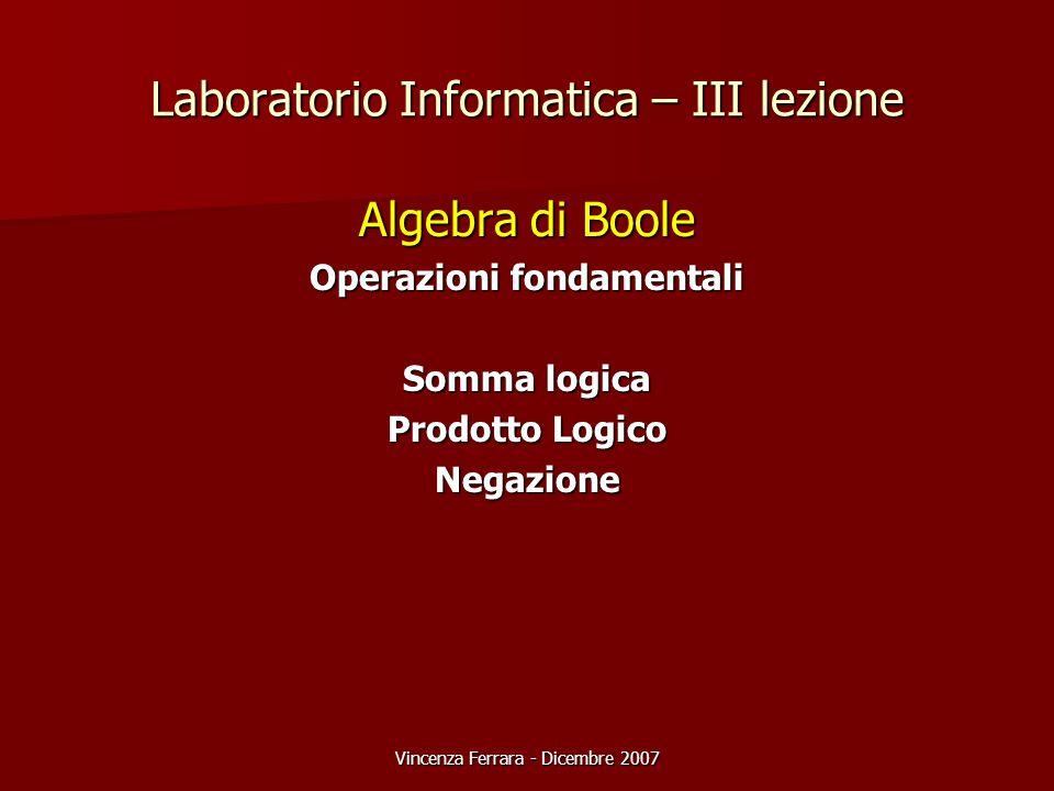Vincenza Ferrara - Dicembre 2007 Laboratorio Informatica – III lezione Algebra di Boole Operazioni fondamentali Somma logica Prodotto Logico Negazione