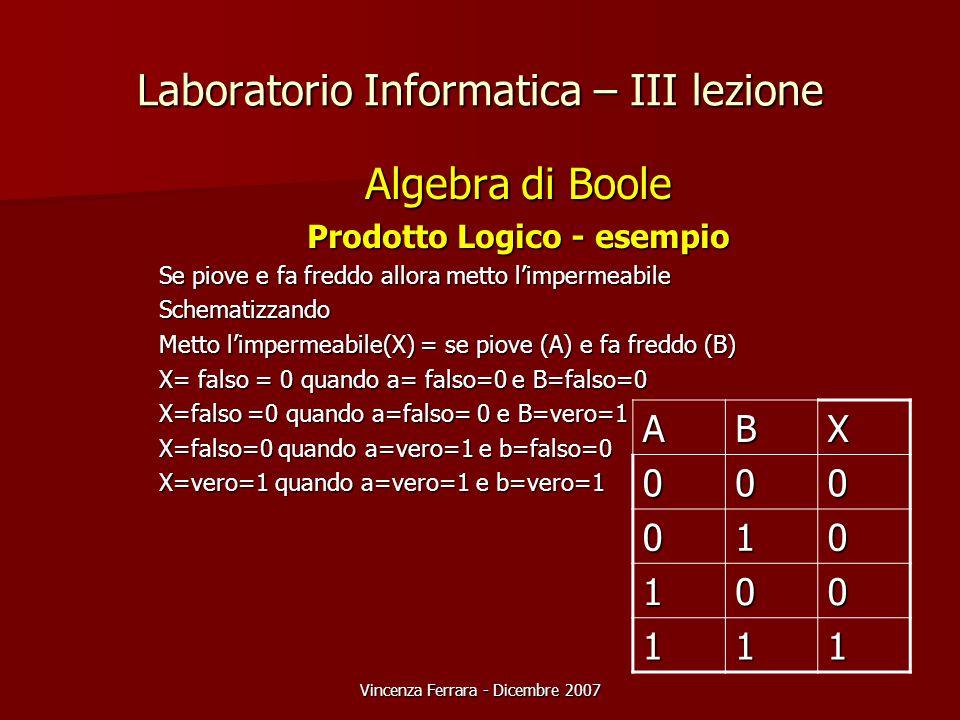 Vincenza Ferrara - Dicembre 2007 Laboratorio Informatica – III lezione Algebra di Boole Prodotto Logico - esempio Se piove e fa freddo allora metto l'impermeabile Schematizzando Metto l'impermeabile(X) = se piove (A) e fa freddo (B) X= falso = 0 quando a= falso=0 e B=falso=0 X=falso =0 quando a=falso= 0 e B=vero=1 X=falso=0 quando a=vero=1 e b=falso=0 X=vero=1 quando a=vero=1 e b=vero=1 ABX 000 010 100 111