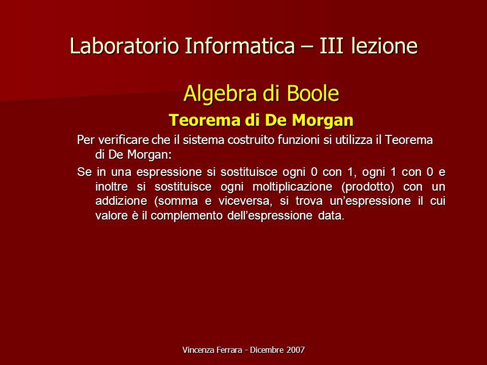 Vincenza Ferrara - Dicembre 2007 Laboratorio Informatica – III lezione Algebra di Boole Teorema di De Morgan Per verificare che il sistema costruito funzioni si utilizza il Teorema di De Morgan: Se in una espressione si sostituisce ogni 0 con 1, ogni 1 con 0 e inoltre si sostituisce ogni moltiplicazione (prodotto) con un addizione (somma e viceversa, si trova un'espressione il cui valore è il complemento dell'espressione data.