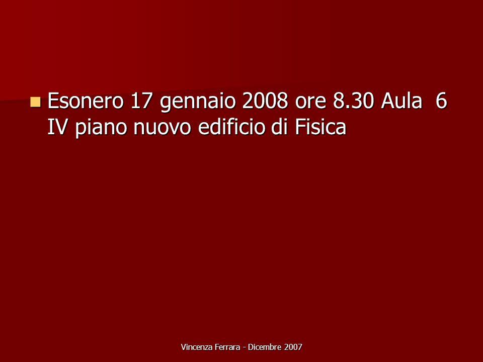 Vincenza Ferrara - Dicembre 2007 Esonero 17 gennaio 2008 ore 8.30 Aula 6 IV piano nuovo edificio di Fisica Esonero 17 gennaio 2008 ore 8.30 Aula 6 IV