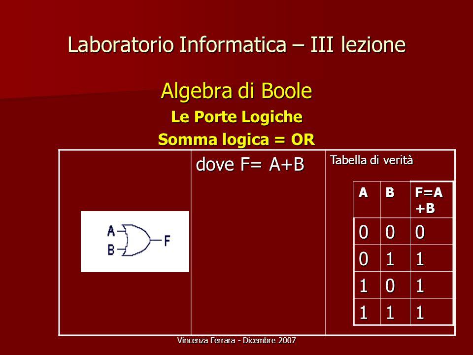 Vincenza Ferrara - Dicembre 2007 Laboratorio Informatica – III lezione Algebra di Boole Le Porte Logiche Somma logica = OR dove F= A+B Tabella di verità AB F=A +B 000 011 101 111