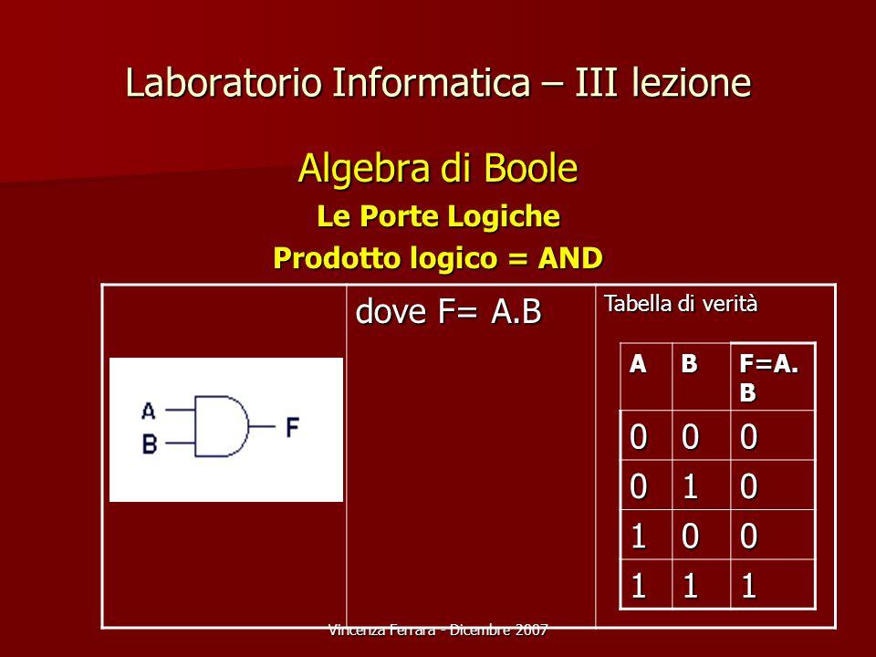 Vincenza Ferrara - Dicembre 2007 Laboratorio Informatica – III lezione Algebra di Boole Le Porte Logiche Prodotto logico = AND dove F= A.B Tabella di verità AB F=A.