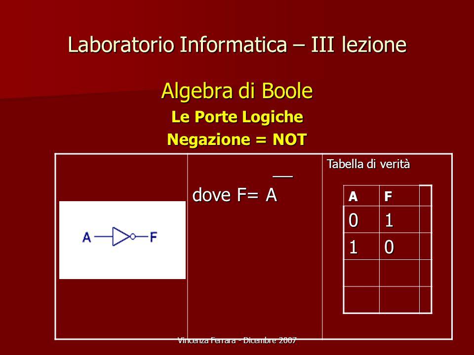 Vincenza Ferrara - Dicembre 2007 Laboratorio Informatica – III lezione Algebra di Boole Le Porte Logiche Negazione = NOT __ __ dove F= A Tabella di verità AF01 10
