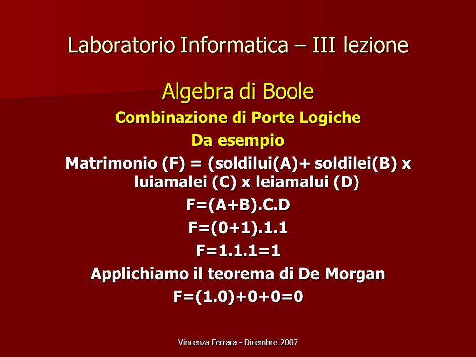 Vincenza Ferrara - Dicembre 2007 Laboratorio Informatica – III lezione Algebra di Boole Combinazione di Porte Logiche Da esempio Matrimonio (F) = (soldilui(A)+ soldilei(B) x luiamalei (C) x leiamalui (D) F=(A+B).C.DF=(0+1).1.1F=1.1.1=1 Applichiamo il teorema di De Morgan F=(1.0)+0+0=0