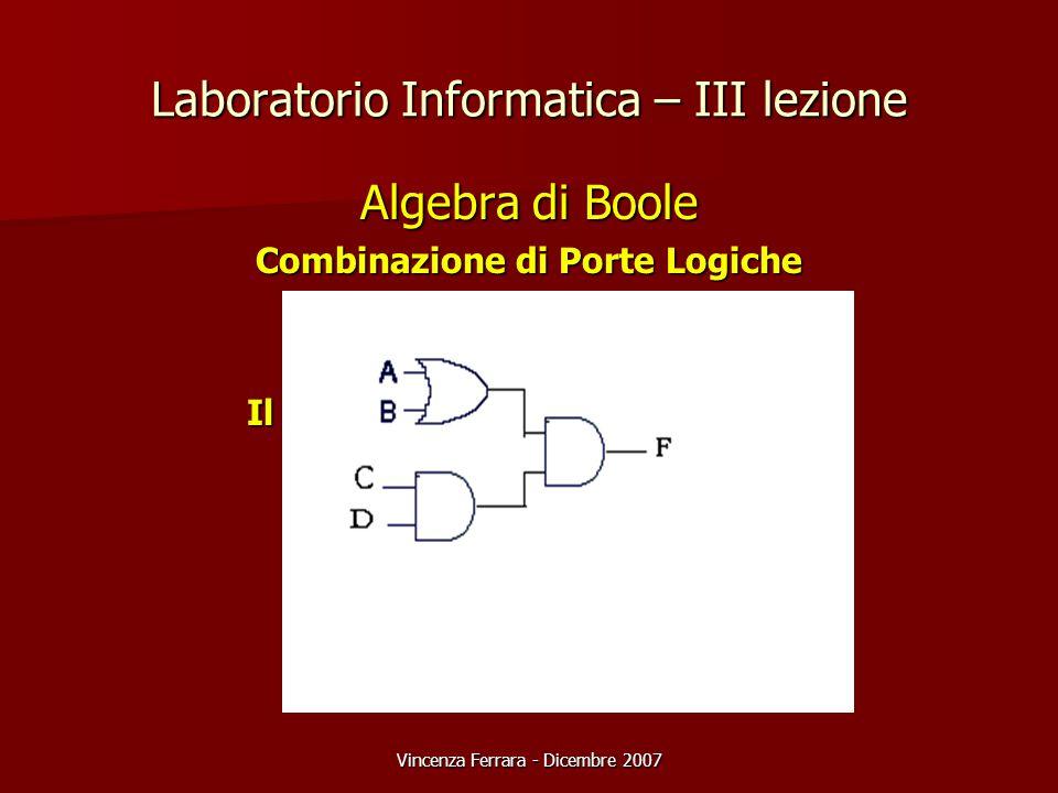 Vincenza Ferrara - Dicembre 2007 Laboratorio Informatica – III lezione Algebra di Boole Combinazione di Porte Logiche Da esempio F=(A+B).C.D Il circui