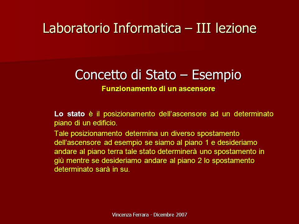 Vincenza Ferrara - Dicembre 2007 Laboratorio Informatica – III lezione Concetto di Stato – Esempio Funzionamento di un ascensore Lo stato è il posizionamento dell'ascensore ad un determinato piano di un edificio.