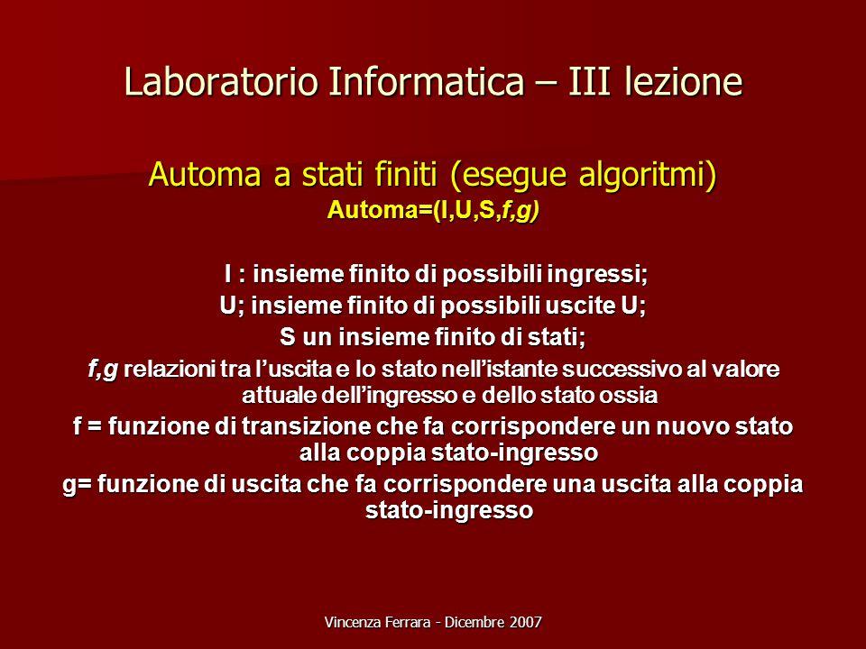 Vincenza Ferrara - Dicembre 2007 Laboratorio Informatica – III lezione Automa a stati finiti (esegue algoritmi) Automa=(I,U,S,f,g) I : insieme finito