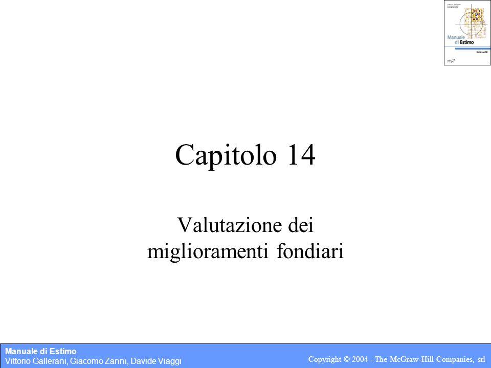 Manuale di Estimo Vittorio Gallerani, Giacomo Zanni, Davide Viaggi Copyright © 2004 - The McGraw-Hill Companies, srl Capitolo 14 Valutazione dei miglioramenti fondiari