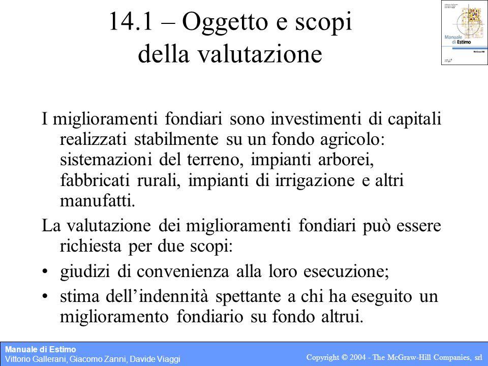 Manuale di Estimo Vittorio Gallerani, Giacomo Zanni, Davide Viaggi Copyright © 2004 - The McGraw-Hill Companies, srl 14.1 – Oggetto e scopi della valu