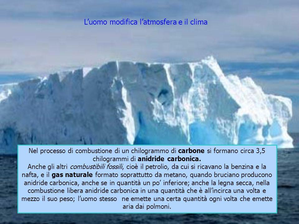 L'uomo modifica l'atmosfera e il clima Nel processo di combustione di un chilogrammo di carbone si formano circa 3,5 chilogrammi di anidride carbonica