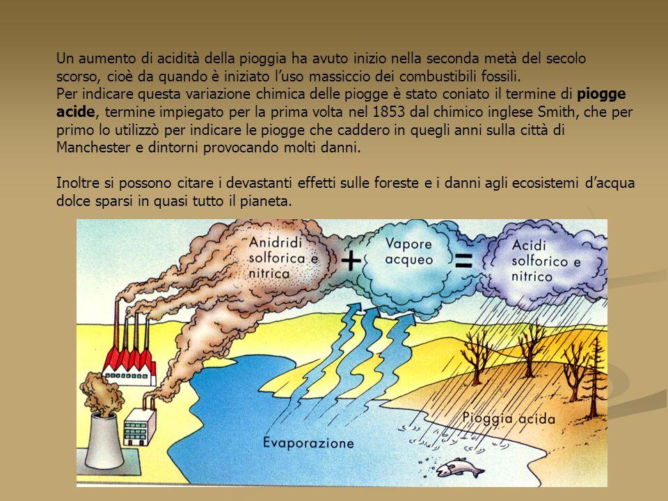 Un aumento di acidità della pioggia ha avuto inizio nella seconda metà del secolo scorso, cioè da quando è iniziato l'uso massiccio dei combustibili f