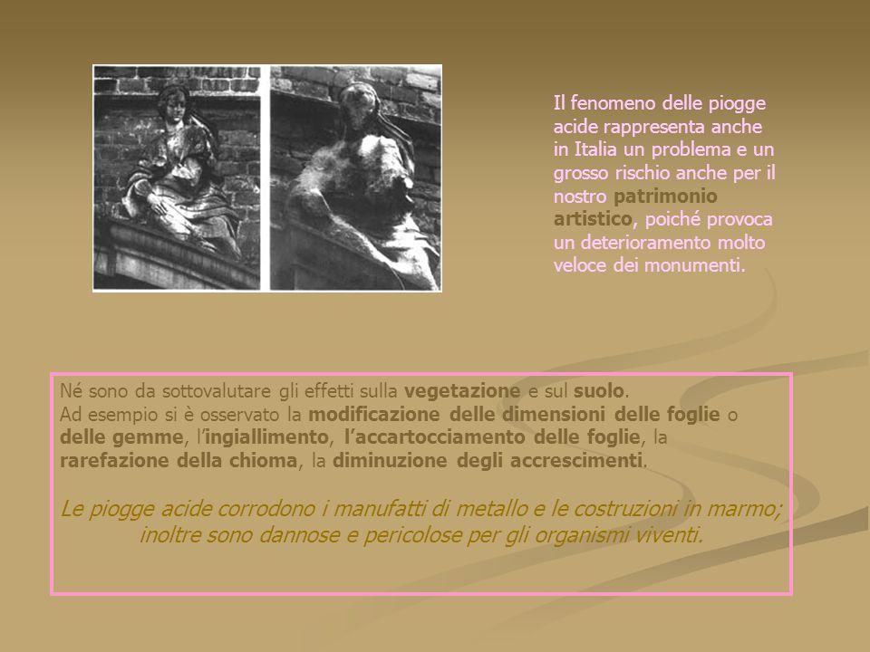 Il fenomeno delle piogge acide rappresenta anche in Italia un problema e un grosso rischio anche per il nostro patrimonio artistico, poiché provoca un