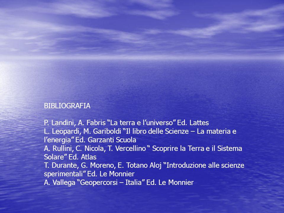 """BIBLIOGRAFIA P. Landini, A. Fabris """"La terra e l'universo"""" Ed. Lattes L. Leopardi, M. Gariboldi """"Il libro delle Scienze – La materia e l'energia"""" Ed."""