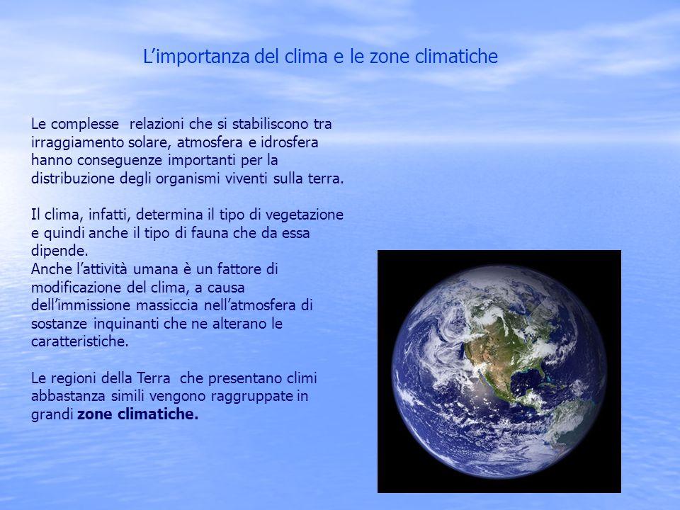 L'importanza del clima e le zone climatiche Le complesse relazioni che si stabiliscono tra irraggiamento solare, atmosfera e idrosfera hanno conseguen