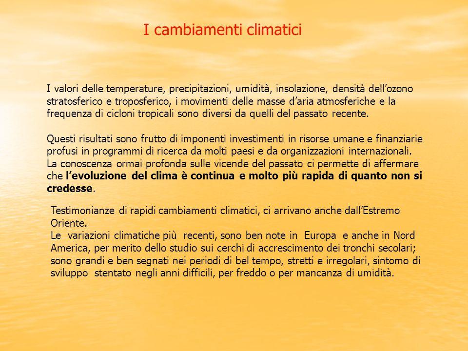 I cambiamenti climatici I valori delle temperature, precipitazioni, umidità, insolazione, densità dell'ozono stratosferico e troposferico, i movimenti