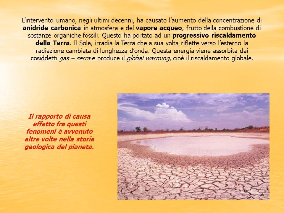 L'intervento umano, negli ultimi decenni, ha causato l'aumento della concentrazione di anidride carbonica in atmosfera e del vapore acqueo, frutto del