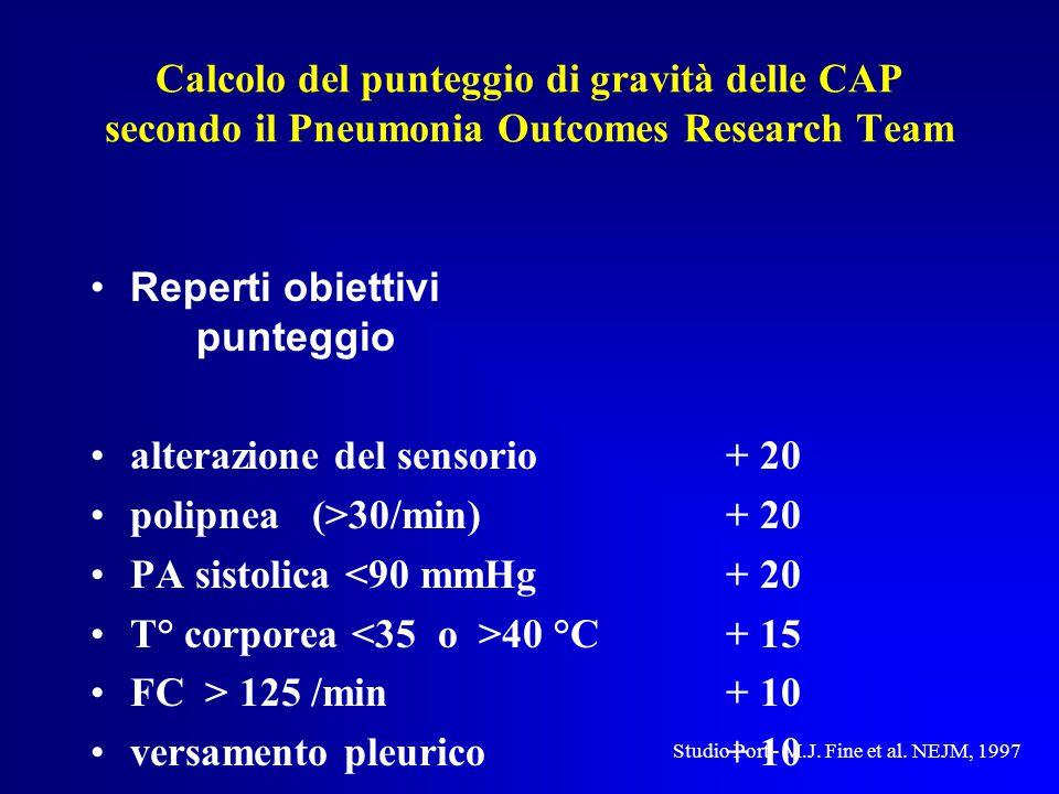 Calcolo del punteggio di gravità delle CAP secondo il Pneumonia Outcomes Research Team Reperti obiettivi punteggio alterazione del sensorio+ 20 polipnea (>30/min)+ 20 PA sistolica <90 mmHg+ 20 T° corporea 40 °C+ 15 FC > 125 /min+ 10 versamento pleurico+ 10 Studio Port - M.J.