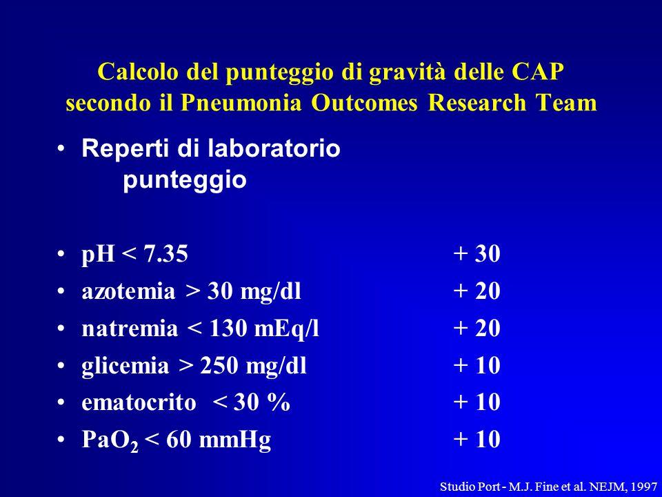 Calcolo del punteggio di gravità delle CAP secondo il Pneumonia Outcomes Research Team Reperti di laboratorio punteggio pH < 7.35+ 30 azotemia > 30 mg/dl+ 20 natremia < 130 mEq/l+ 20 glicemia > 250 mg/dl+ 10 ematocrito < 30 %+ 10 PaO 2 < 60 mmHg+ 10 Studio Port - M.J.