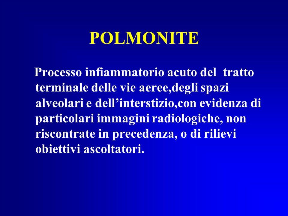 POLMONITE Processo infiammatorio acuto del tratto terminale delle vie aeree,degli spazi alveolari e dell'interstizio,con evidenza di particolari immagini radiologiche, non riscontrate in precedenza, o di rilievi obiettivi ascoltatori.