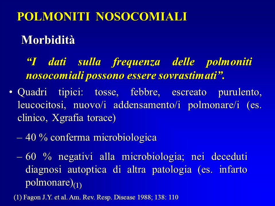 POLMONITI NOSOCOMIALI Morbidità I dati sulla frequenza delle polmoniti nosocomiali possono essere sovrastimati .