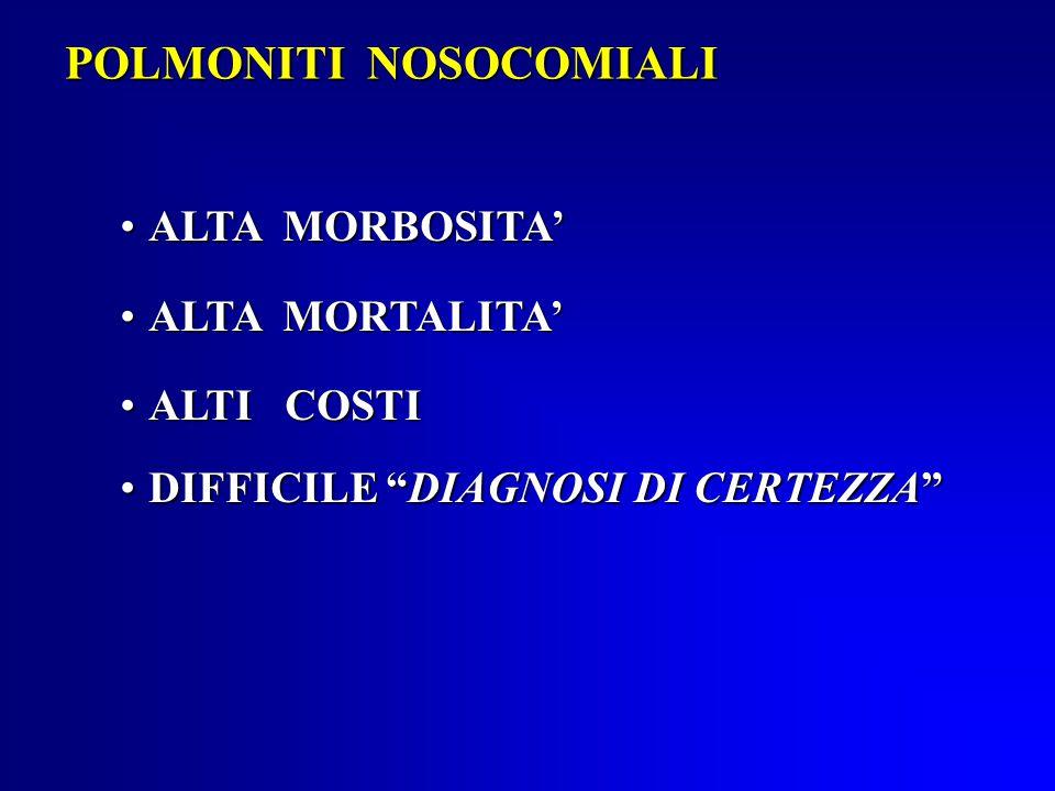 POLMONITI NOSOCOMIALI ALTA MORBOSITA'ALTA MORBOSITA' ALTA MORTALITA'ALTA MORTALITA' ALTI COSTIALTI COSTI DIFFICILE DIAGNOSI DI CERTEZZA DIFFICILE DIAGNOSI DI CERTEZZA