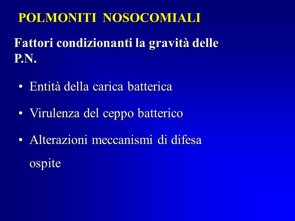 POLMONITI NOSOCOMIALI Fattori condizionanti la gravità delle P.N.